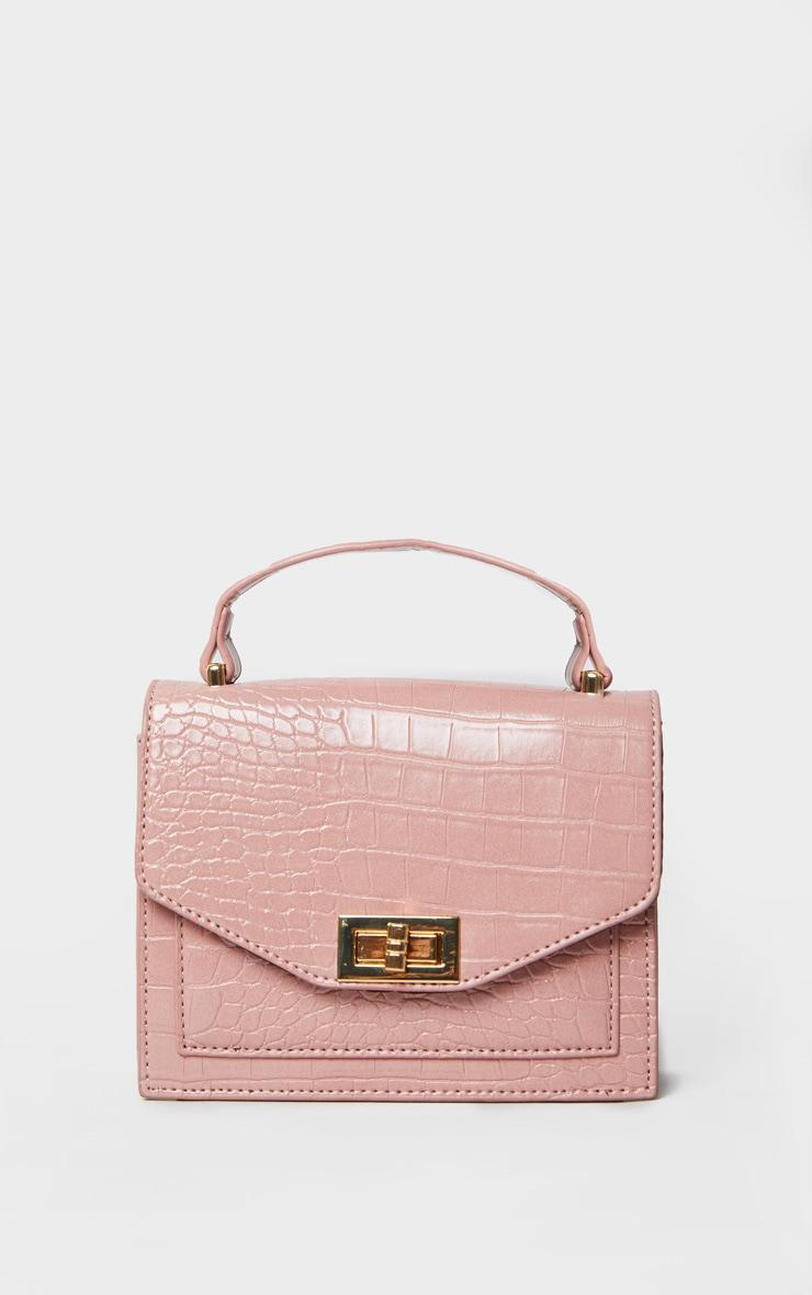 Pink Croc PU Cross Body Bag 3