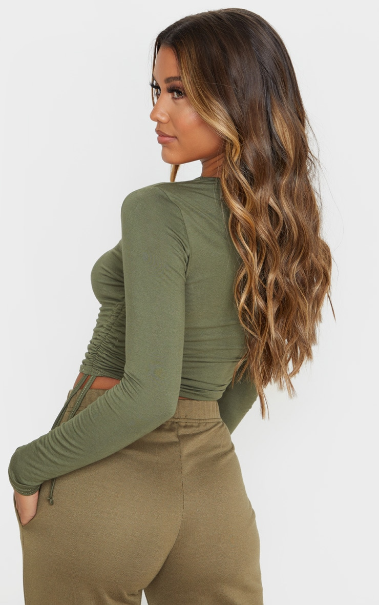 Sage Khaki Jersey Ruched Side Long Sleeve Top 2