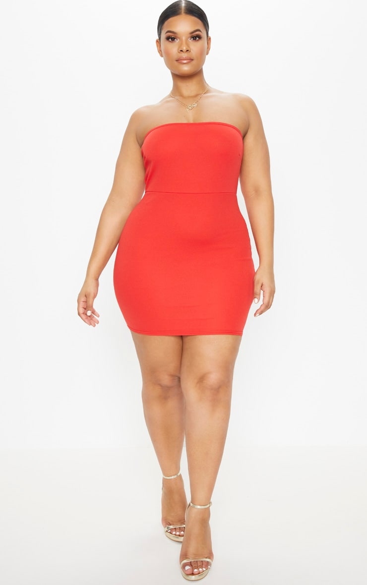 Plus Red Bandeau Bodycon Dress 4