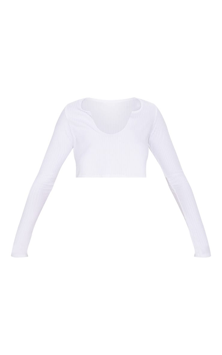 White Long Sleeve Rib Raw V Crop Top 3
