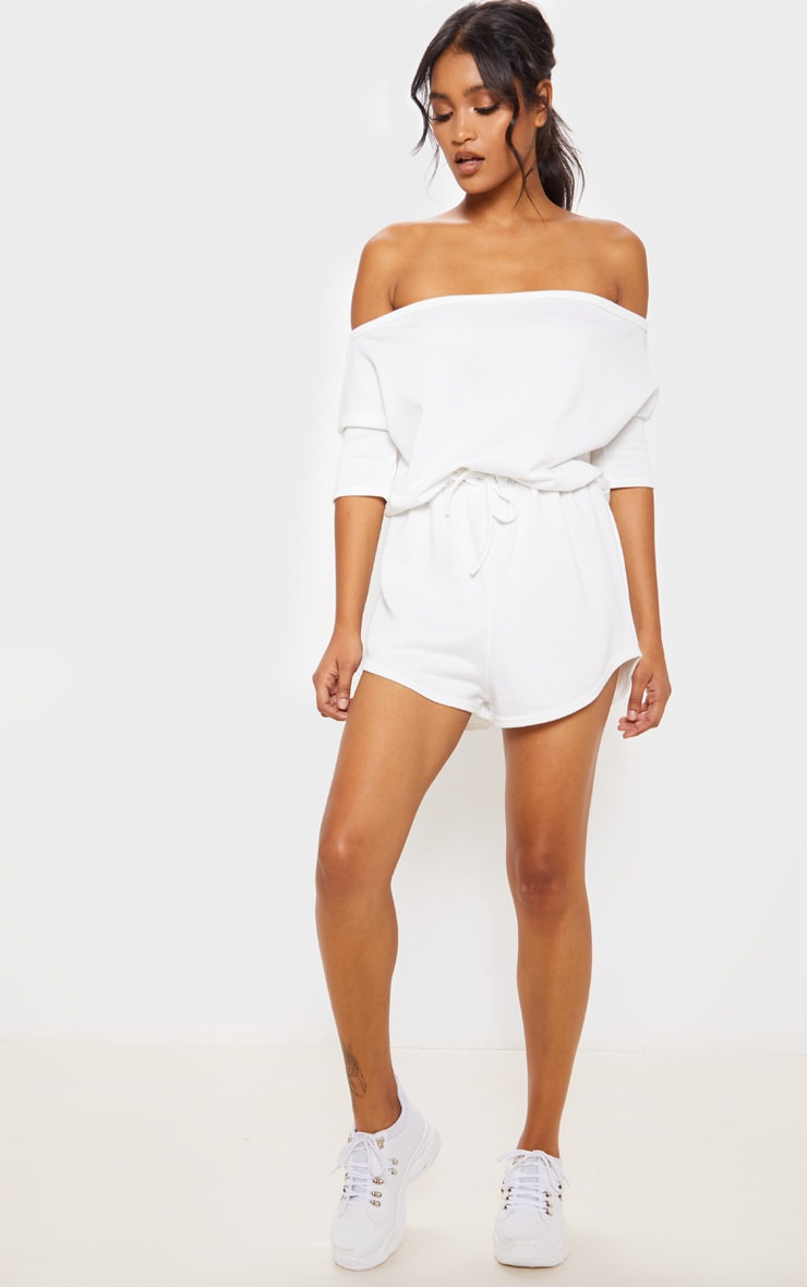 Cream Off The Shoulder Tie Waist Playsuit 1