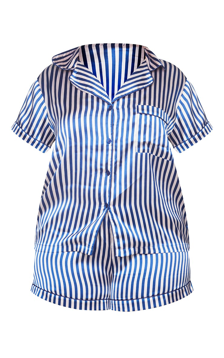 Plus Nude & Navy Striped Button Up Short PJ Set 5