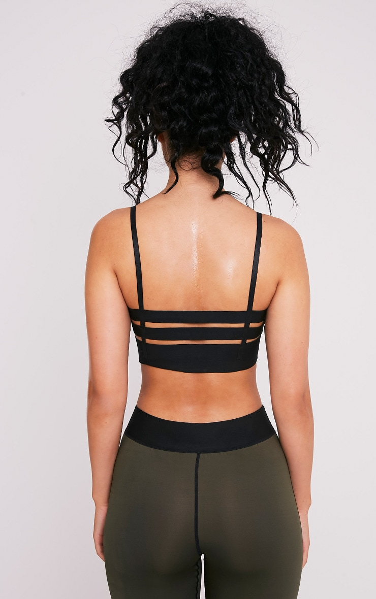 Georgiana Khaki Caged Back Sports Bra 2