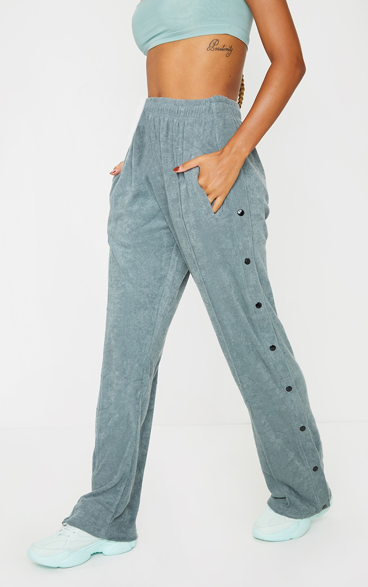 Teal Towelling Popper Side Detail Joggers 2