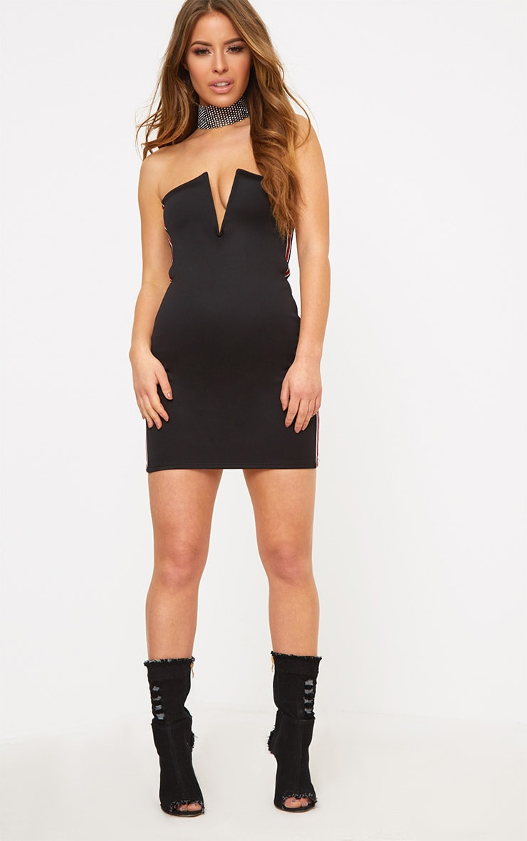 Petite Black Sports Rib V Plunge Mini Dress 4