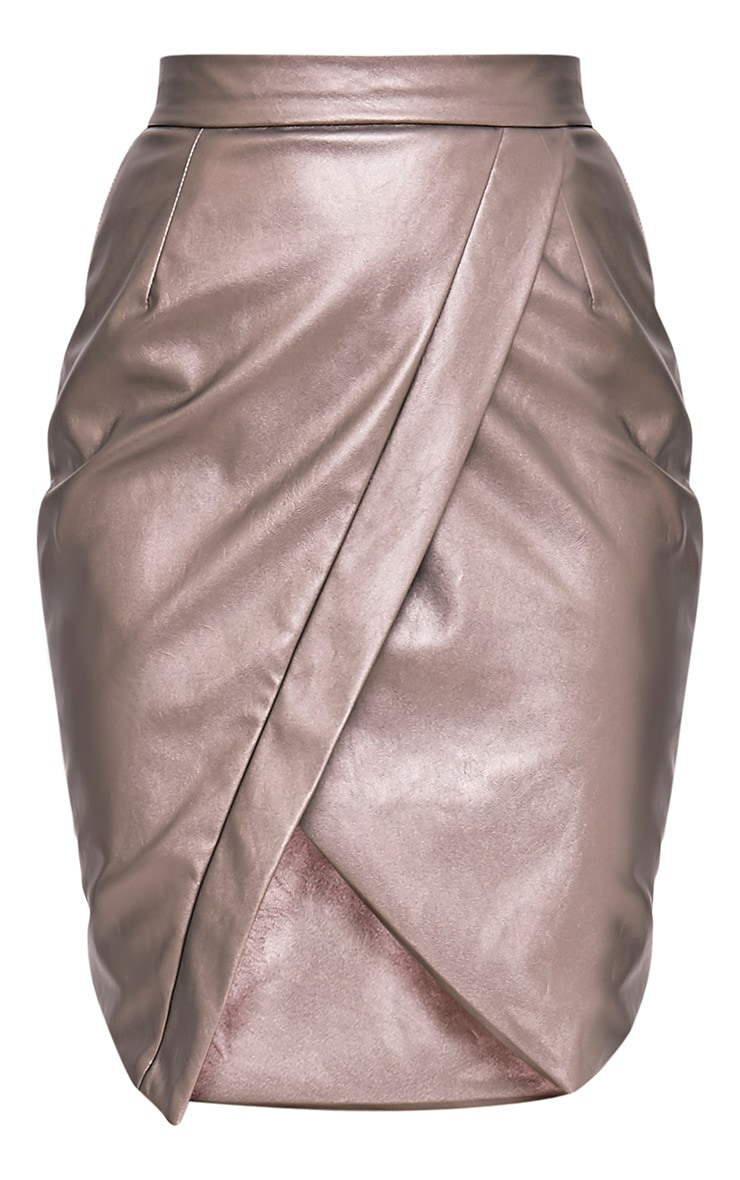 Greer Metallic Pewter Faux Leather Wrap Midi Skirt 3