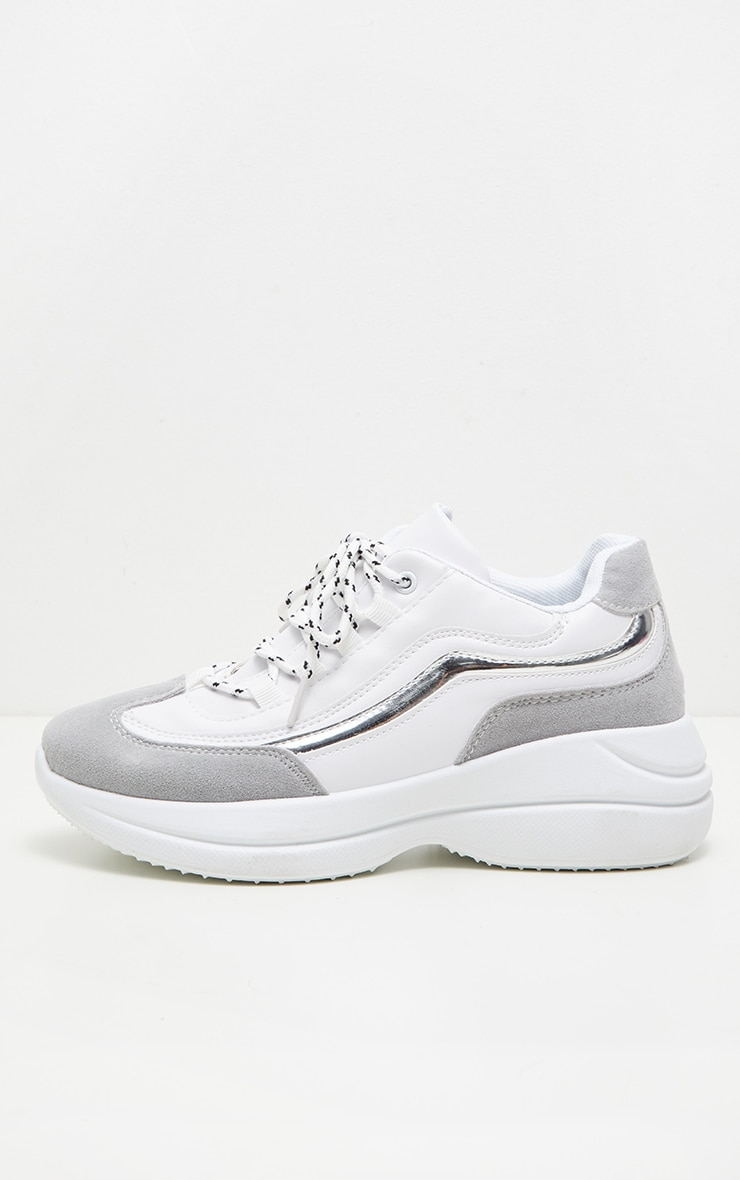 White Contrast Lace Chunky Hiker Trainer 3