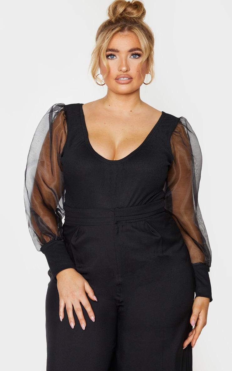Plus Black Rib Organza Puff Sleeve Bodysuit 1