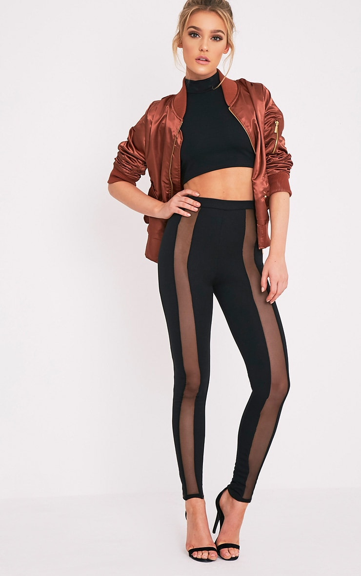 Rach Black Mesh Front Leggings 1