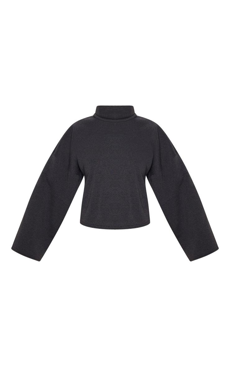 Charcoal Grey Fleece Roll Neck Sweater 3