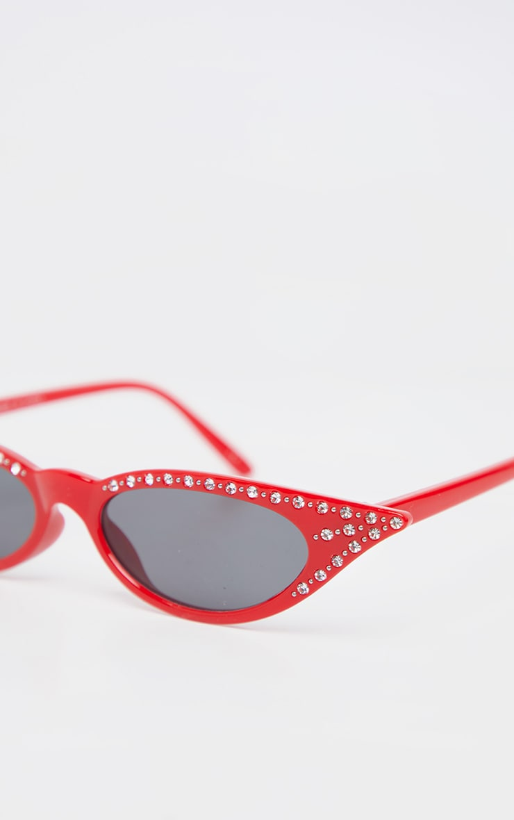 Red Diamante Pointy Cat Eye Sunglasses     4