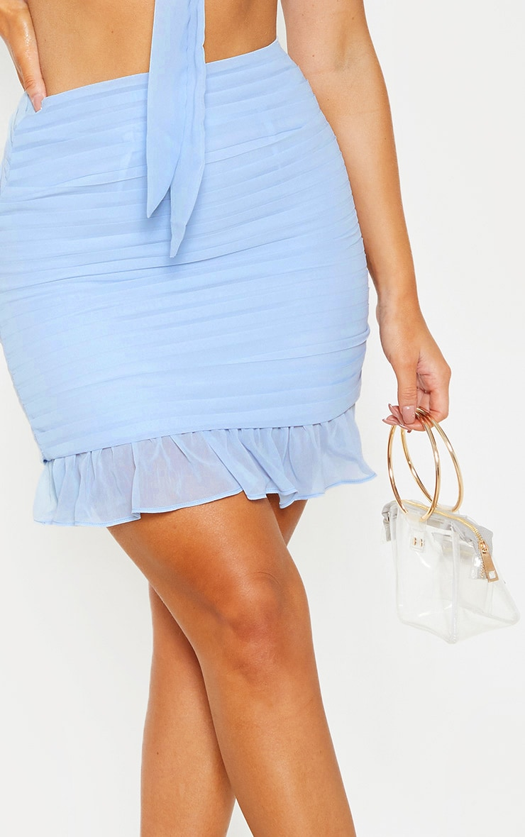Dusty Blue Ruched Chiffon Mini Skirt 7