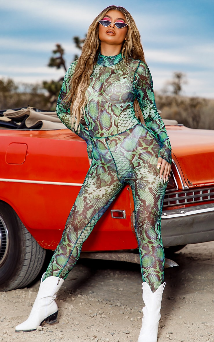 Green Mixed Animal Print Mesh Jumpsuit