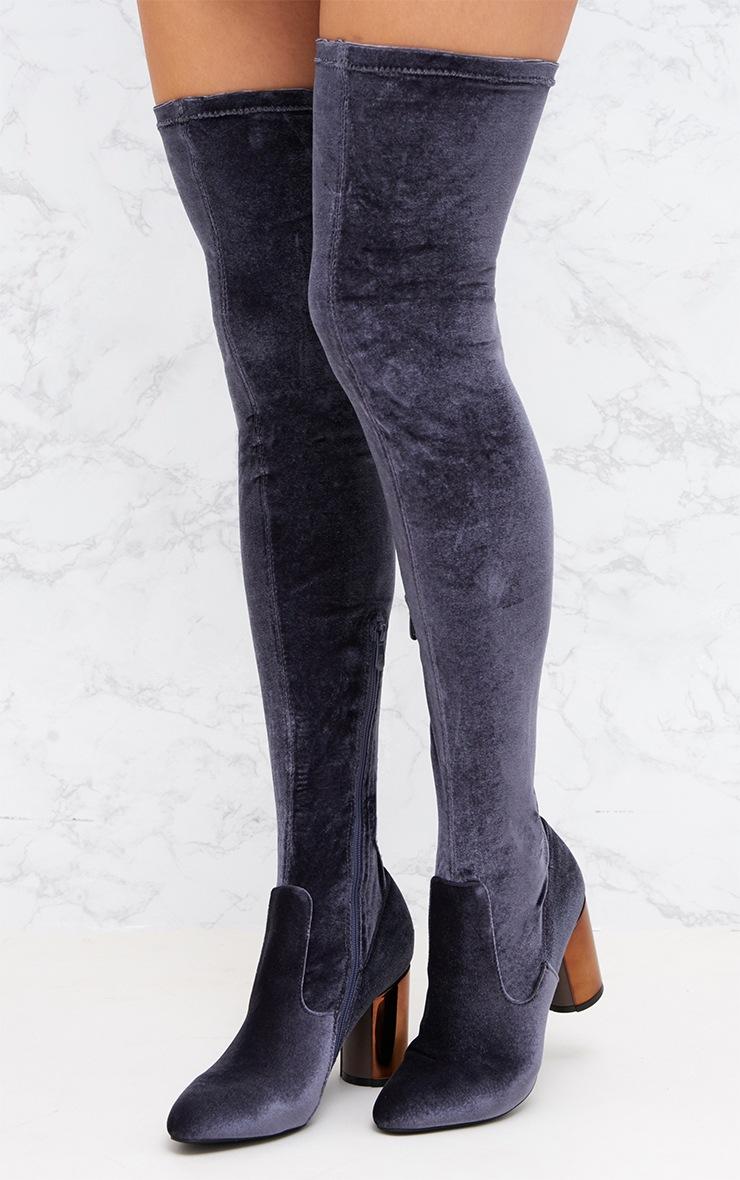 Grey Velvet Metal Heel Over The Knee Boot 2
