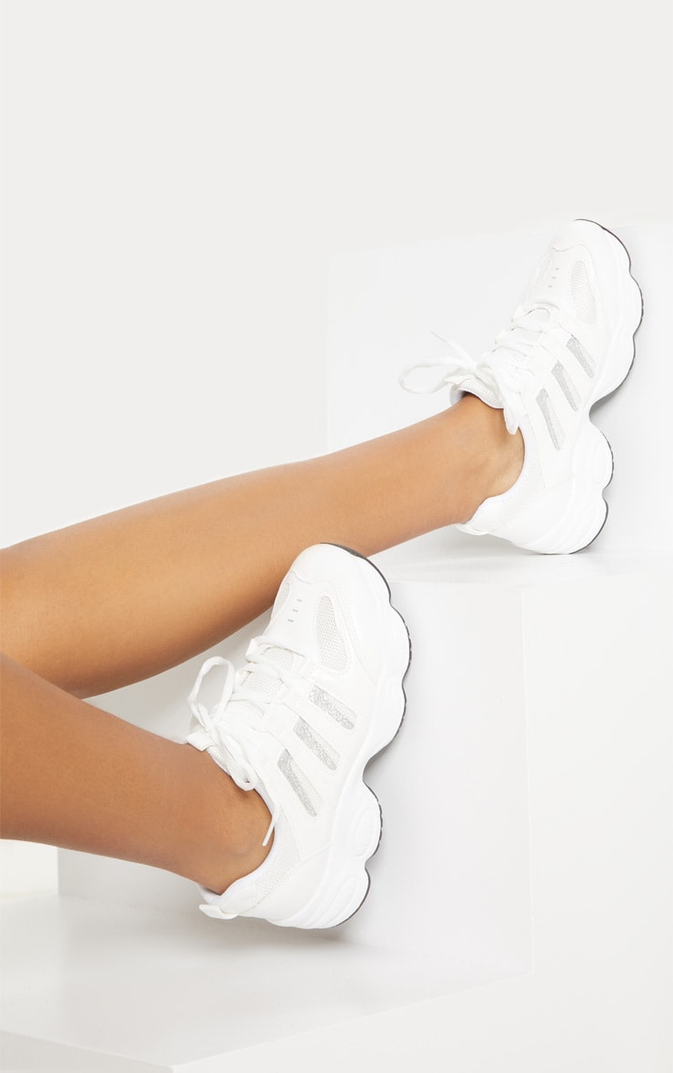 White Cut Out Panel Lace Up Trainer 2