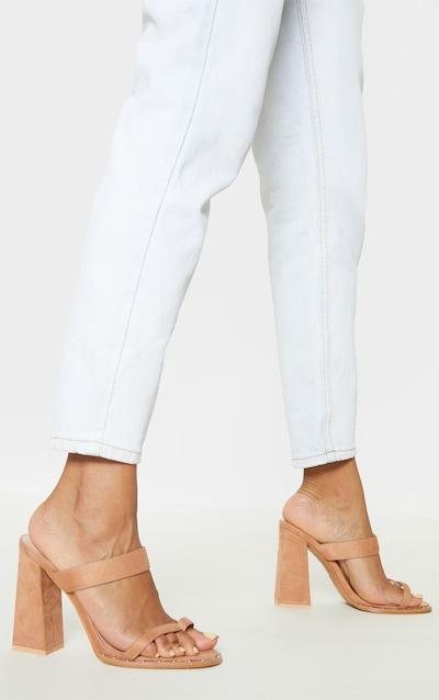 Nude Toe Loop Mule Block Heel Stud Detail Sandal