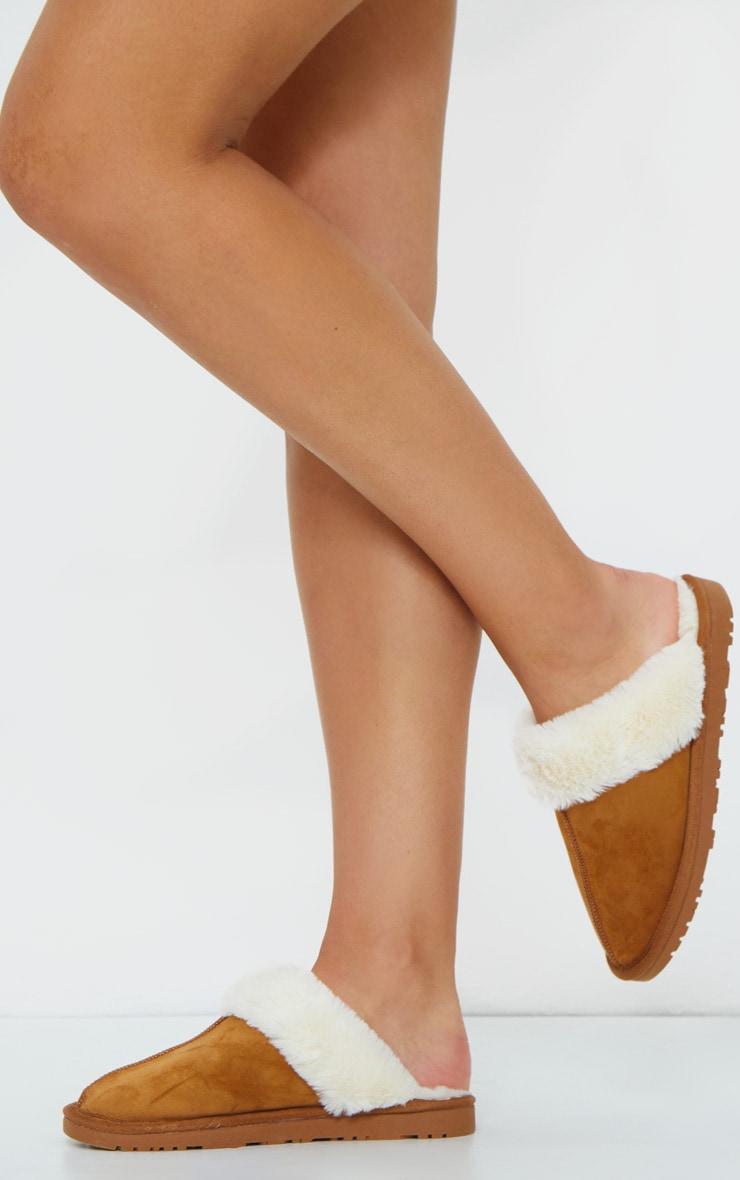 Chestnut Faux Sheepskin Mule Slippers 1