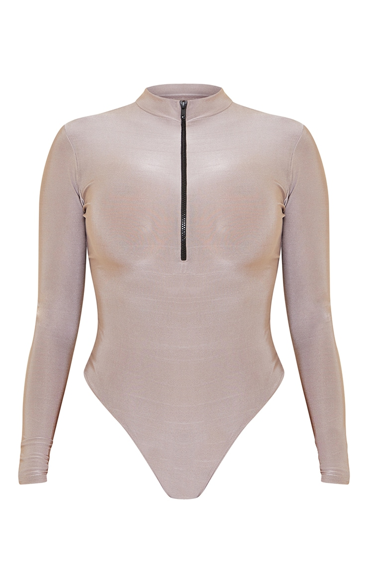 Shape Grey Disco High Neck Zip Detail Bodysuit 5