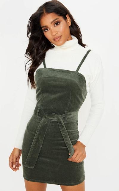 Khaki Cord Tie Denim Dress