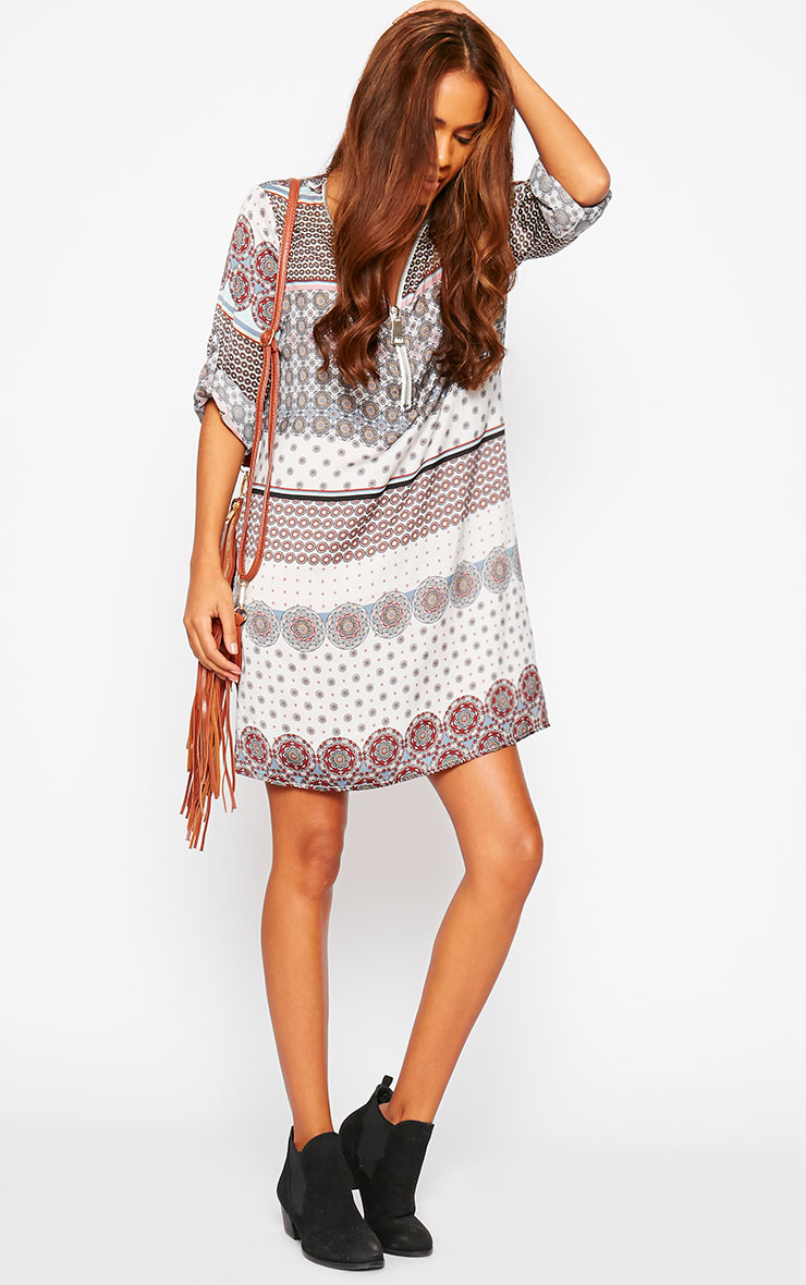Priscilla White Zip Front Paisley Print Dress 5