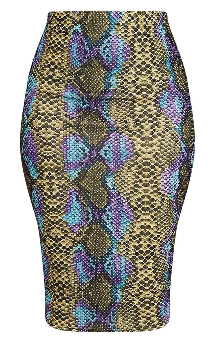 Dora Lime Snake Print Midi Skirt 3
