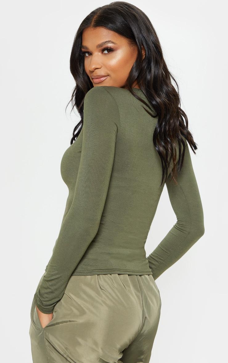Basic Khaki Longsleeve Fitted T Shirt  2