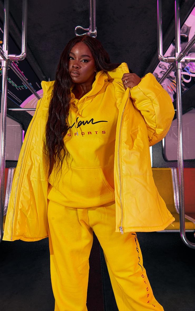 Plus Yellow Unisex PU Extreme Oversized Puffer Coat 5