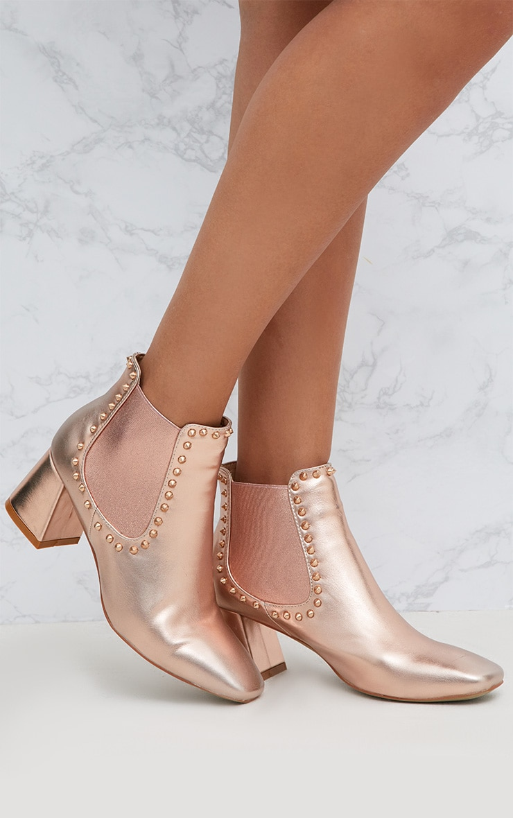 Rose Gold Studded Block Heeled Ankle Boots 1