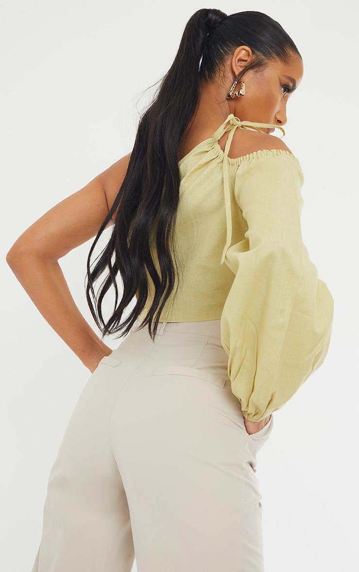 Sage Khaki Linen Look Ruched One Shoulder Cut Out Crop Top 2