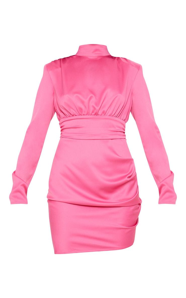 Hot Pink Satin High Neck Ruched Shift Dress 3