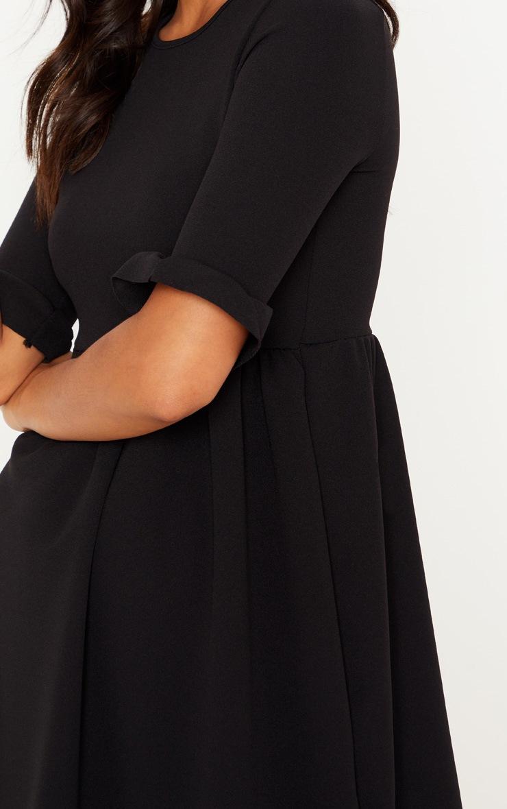 Black Frill Sleeve Detail Crepe Smock Dress 5