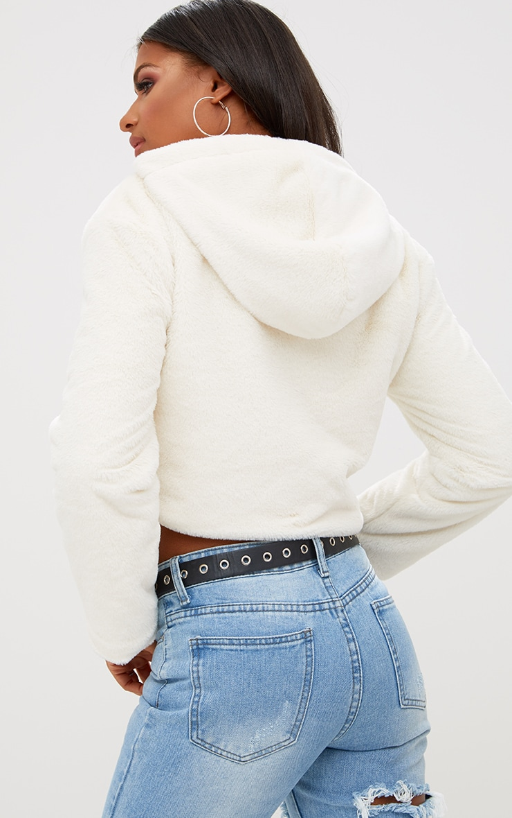Cream Cropped  Faux Fur Jacket With Hood 2