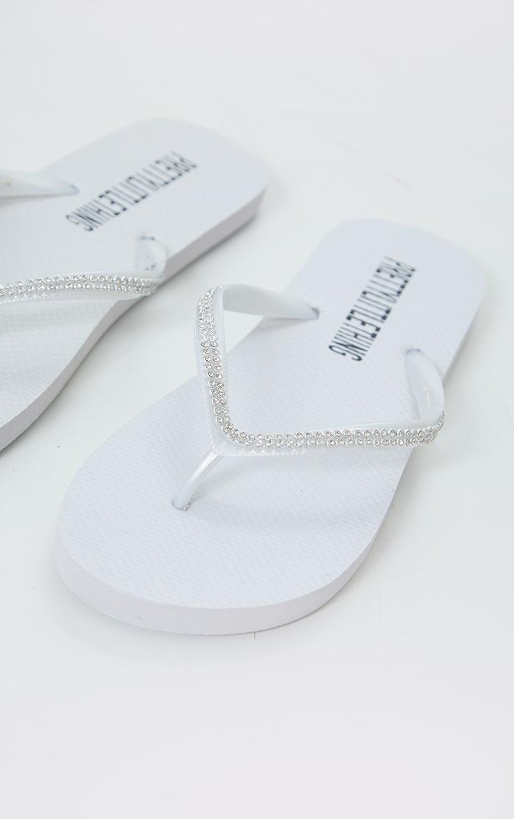 White Diamante Toe Thong Flip Flop 4