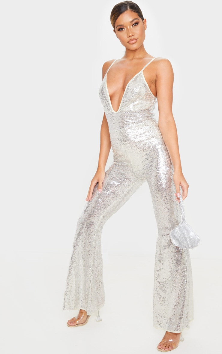 Silver Sequin Strappy Plunge Flared Leg Jumpsuit 1
