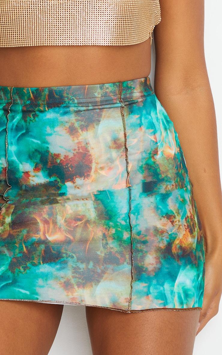 Green Flame Contrast Seam Mini Skirt 5