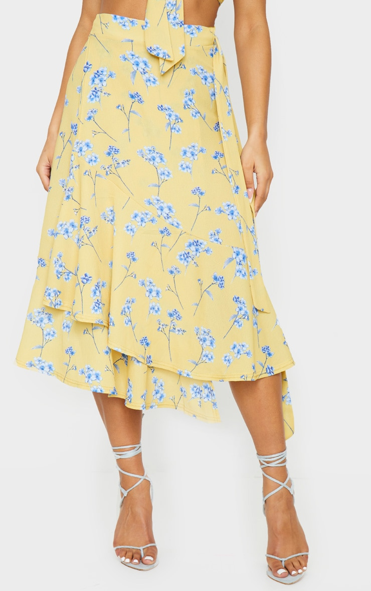 Yellow Floral Printed Frill Hem Wrap Midi Skirt 2