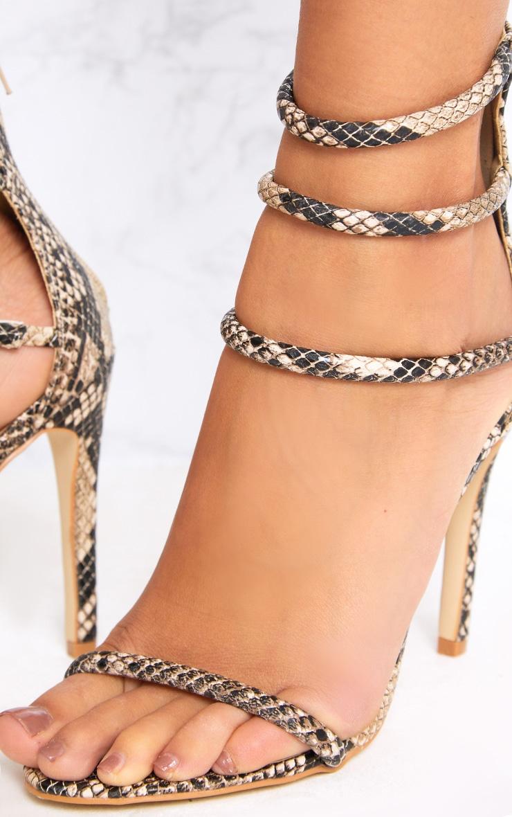 Nadine Nude Snake Print Strappy Heeled Sandals 4
