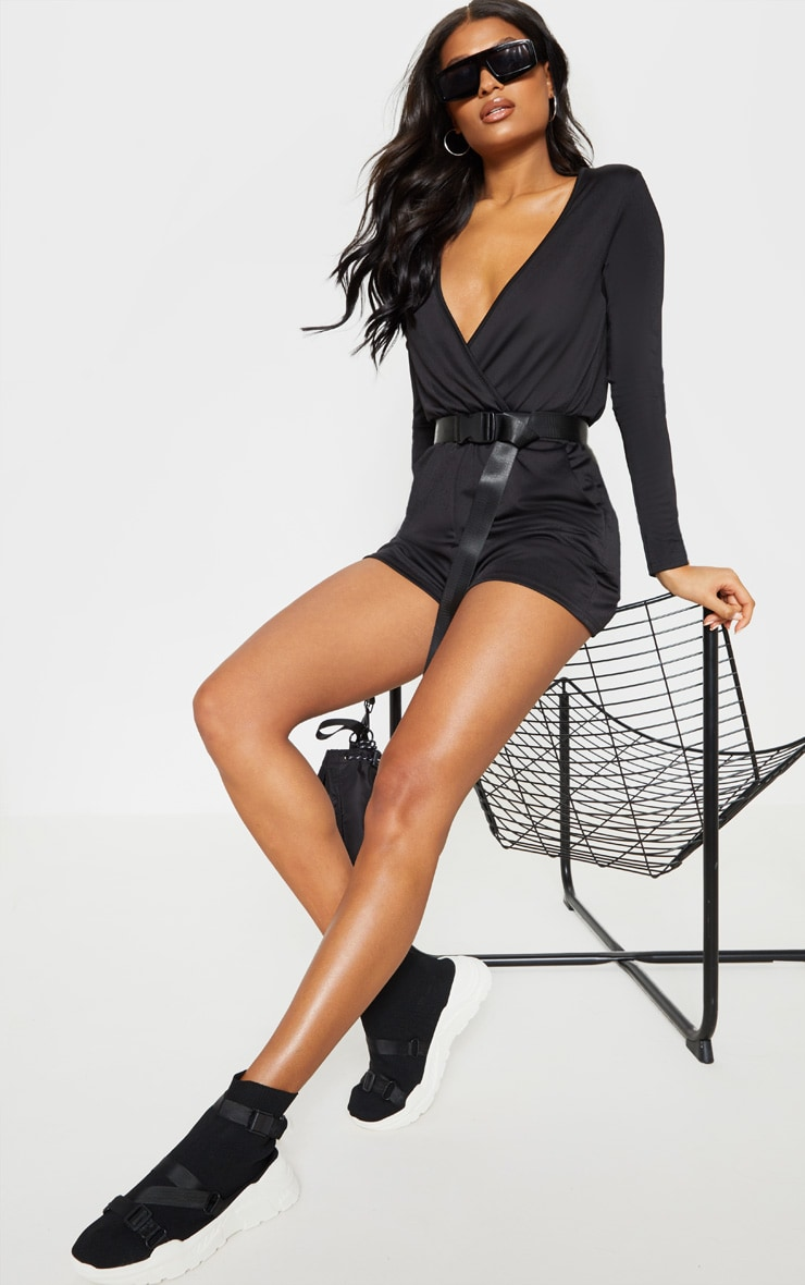 Black Long Sleeve Wrap Front Romper 1