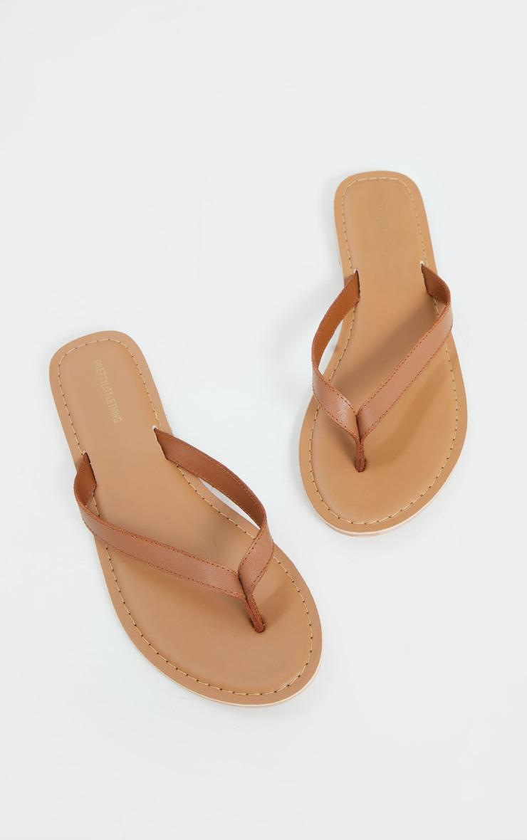 Tan Leather Contrast Sole Mule Sandals 3