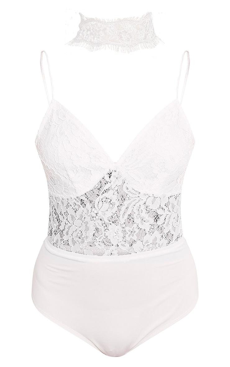 Penelope White Eyelash Choker Lace Thong Bodysuit 3