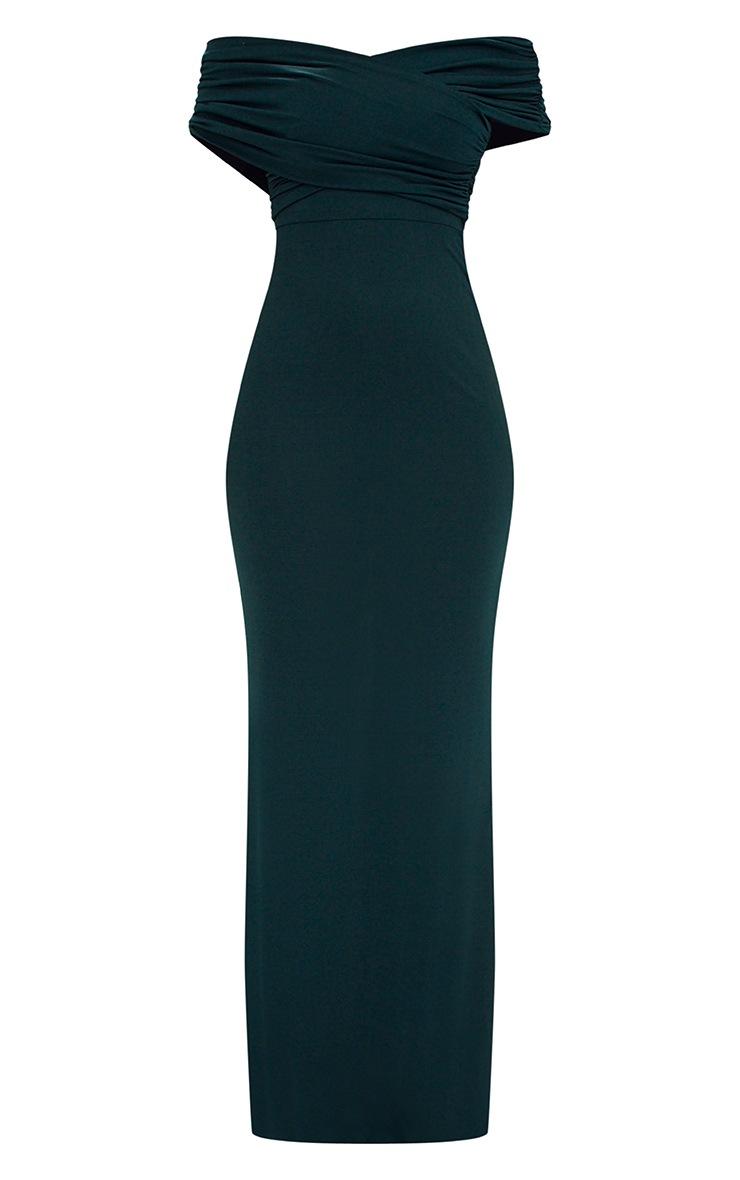 Emerald Green Slinky Wrap Bardot Maxi Dress 3