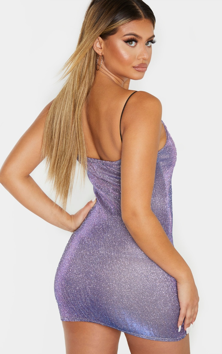 Lilac Irridescent Glitter Strappy Bodycon Dress 2