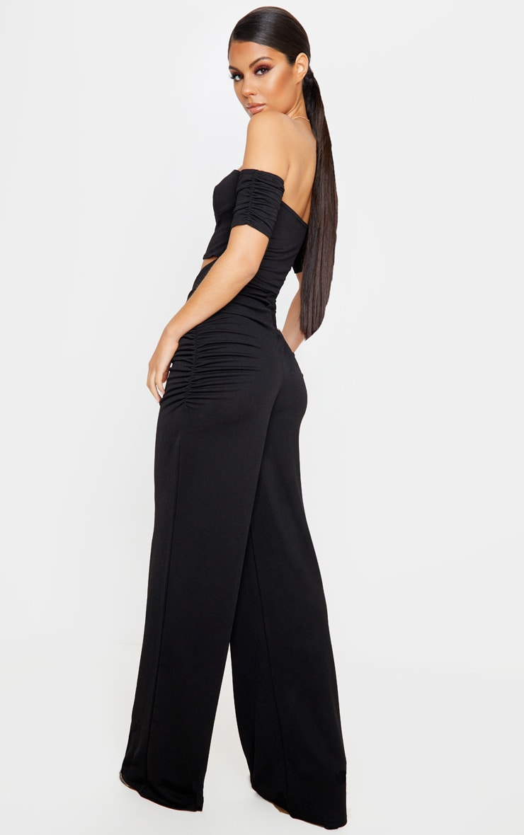 Black Cup Detail Ruched Pant Jumpsuit 2
