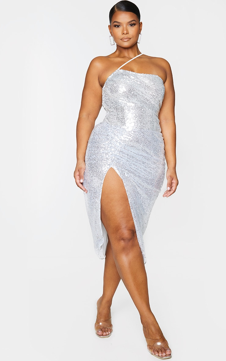 Plus Silver Sequin Strap Detail Ruched Side Midi Dress 2
