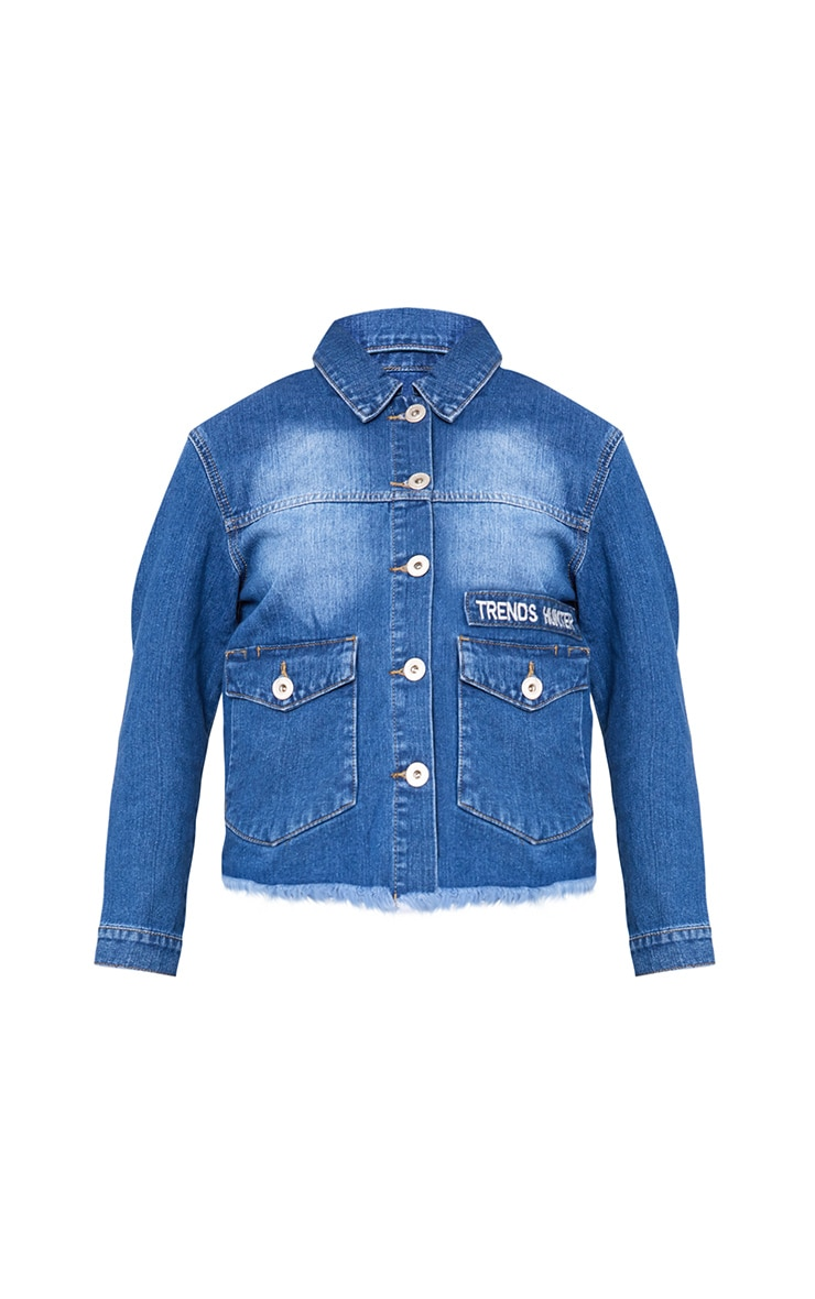Mid Wash She Who Dreams Slogan Denim Jacket 3