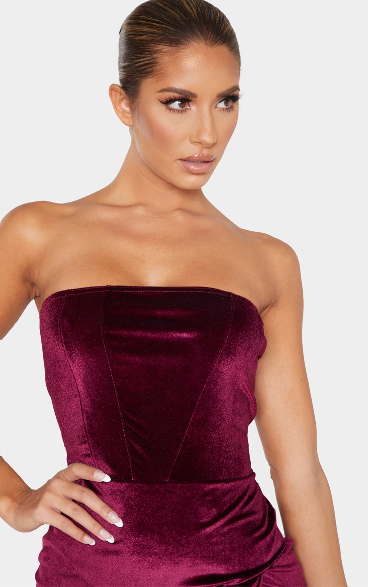 Burgundy Velvet Binding Detail Wrap Over Bandeau Bodycon Dress 5