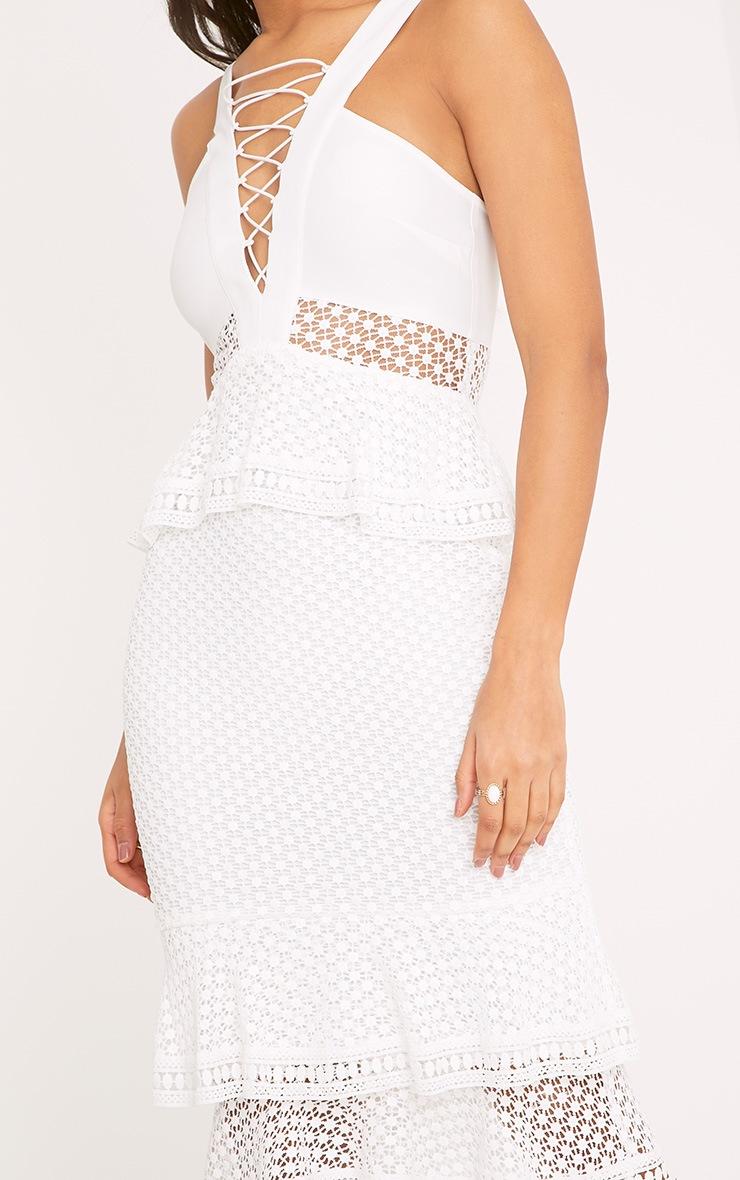 Rhea White Lace Up Frill Detail Midi Dress 5