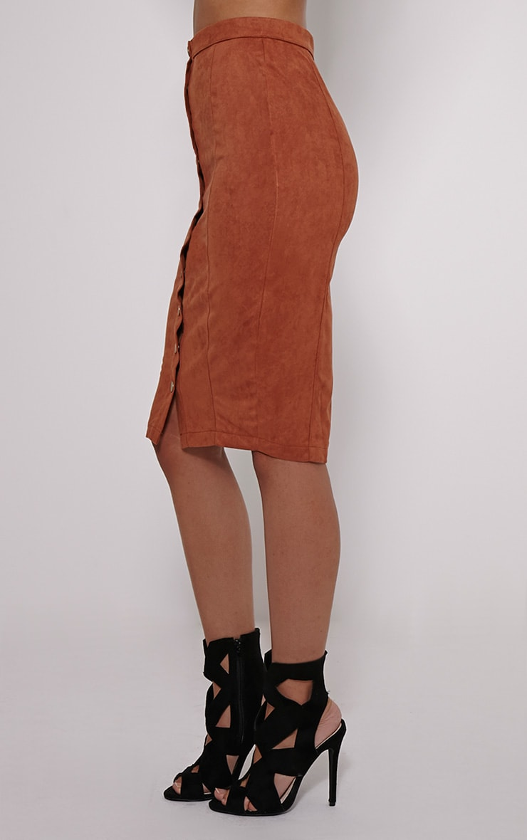 Meemee Tan Button Front Suede Midi Skirt 3