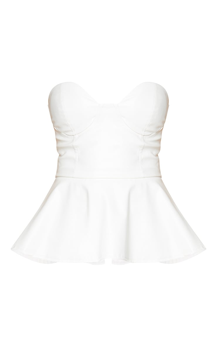 Cream Pu Bandeau Peplum Hem Long Top 5