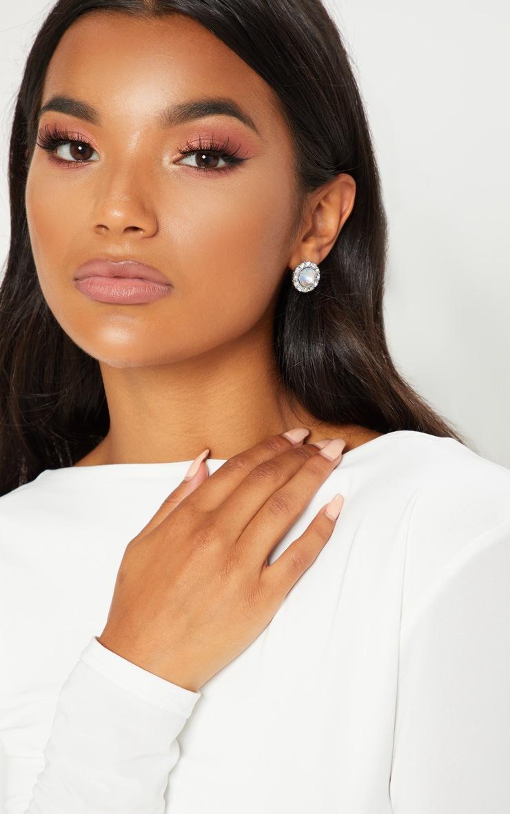 Silver Iridescent Gem Stud Earring Set 3